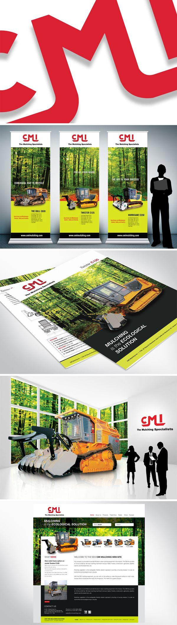 CMI Mulching  Nous avons travaillé par le passé avec une personne de l'équipe et ils nous ont octroyés le nouveau mandat de refaire l'identité visuelle pour les brochures, roll-ups et look graphique Web.  En tenant compte du slogan : Le broyage est la solution écologique, nous avons mis l'impact sur les images de la forêt et des produits offerts.