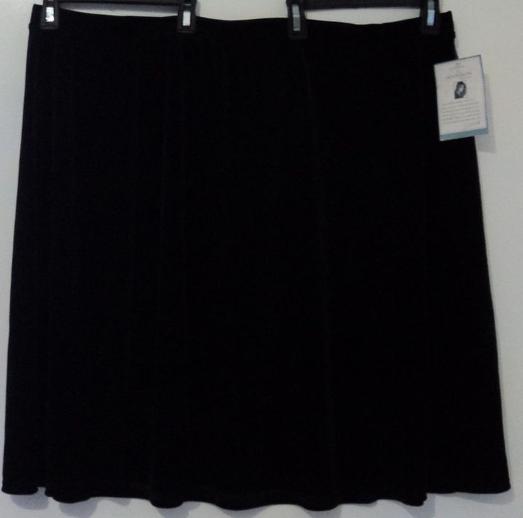 Jaclyn Smith Pretty Black Velvety Velour Skirt  Plus Size 3X At Knee or Below #JaclynSmith #ALine