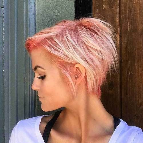 20 Latest Short Choppy Haircuts for Textured Style: #6- Pink Blonde Pixie Cut