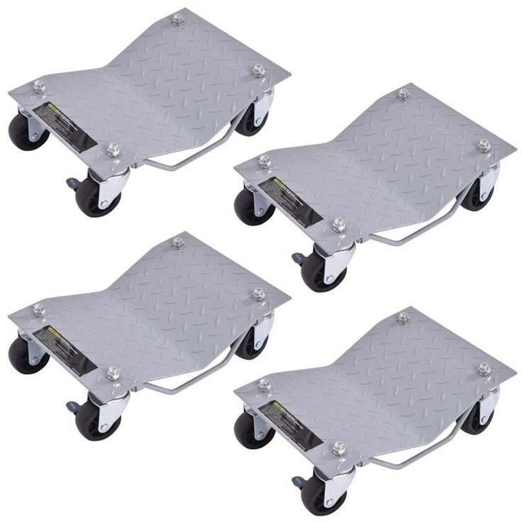4 X 3 Set Tire Wheel Dollies Dolly Vehicle Car Auto Repair Moving Diamond Gray