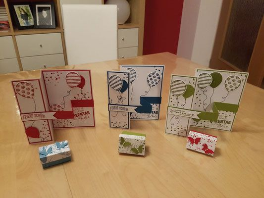 Karten - Stampin' Up! - Ballonparty, Geburtstagspuzzle - Glutrot, Jeansblau, Olivgrün