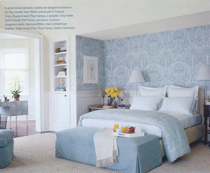 Bedroom Bliss. Pale blue  damask wallpaper and palette. Interior Designer: Vicente Wolf.