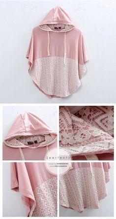 DIY veste doublée de dentelle. Voir le lien dans le texte avec les détails de la découpe de la forme.