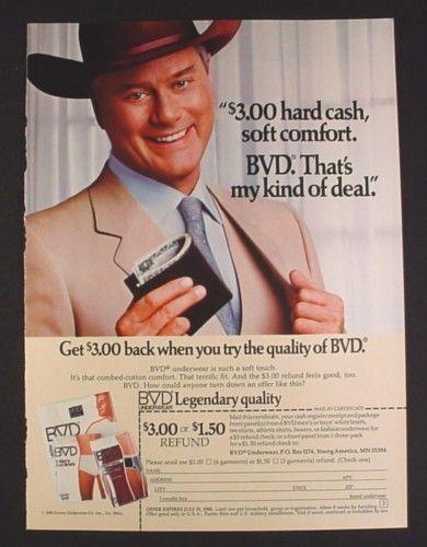 Magazine Ad for BVD Underwear, J.R. Ewing Dallas, Larry Hagman Celebrity Endorsement, 1985 - Magazines Ads and Books Store