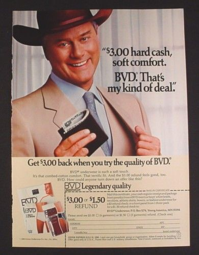 Magazine Ad for BVD Underwear, J.R. Ewing Dallas, Larry Hagman Celebrity Endorsement, 1985 - Magazines Ads and Books Store