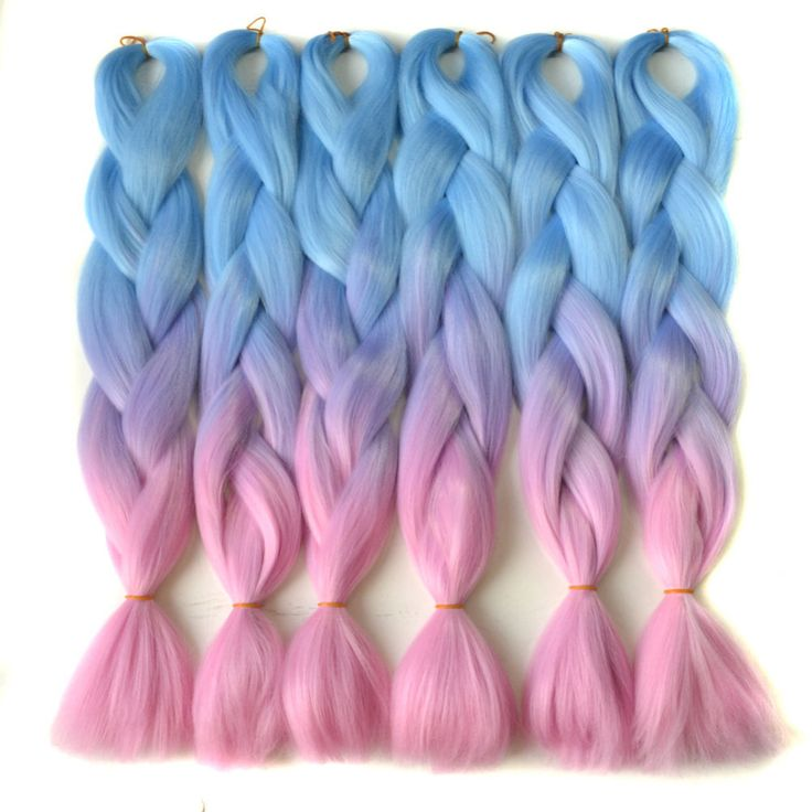 "Chorliss 24"" L.blueTlilacTpink  Synthetic Hair Extensions Crochet Braids Straight Jumbo Ombre Braiding Hair 100g/pack"