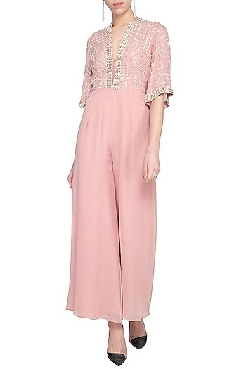 aad6fd2f74e9 Sanya Gulati Featuring a blush pink deep V-neck jumpsuit in viscose  georgette base with check and metallic sequins embroidery and flared  sleeves.