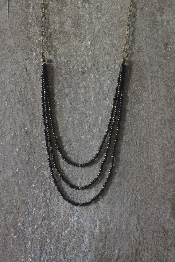 ON SALE Layered necklace beaded necklace black by AnankeJewelry
