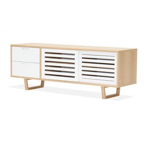 Sideboard Loke Eiche-Weiß  Eine hölzerne Sache Der Korpus von Sideboard Loke besteht aus Eichenholz, das auf der Front Weiß lackiert wurde und so einen tollen Kontrast zu anderen Holzmöbeln bietet. Ausgestattet mit zwei Schubladen und vier Fächer kann man hier Einiges verstauen. Ob als TV-Möbel oder als Sideboard im Schlaf- oder Wohnzimmer - Loke setzt in jedem Raum elegant Akzente und bringt eine einladende Natürlichkeit in die eigenen vier Wände.