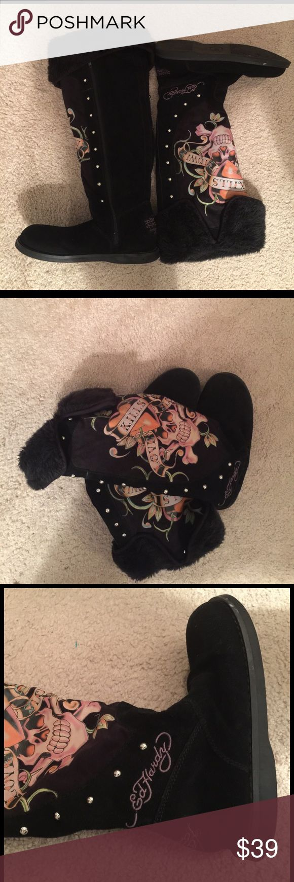 Don Ed Hardy Love Kills Slowly Suede Fur Boots 8 These Ed Hardy boots are soft fold over fur inside black suede with Love Kills Slowly Logo and silver studs. Side zipper size 8. Christian Audinger. Don Ed Hardy Shoes Winter & Rain Boots