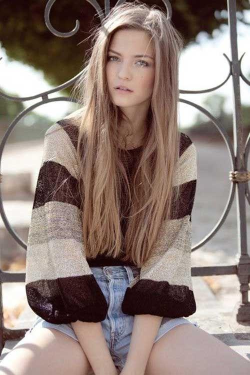 14.Long dunkelblond Frisur