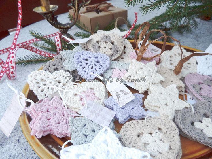Christmas decorations crocheted - 100% cotton. FB handmade by inush