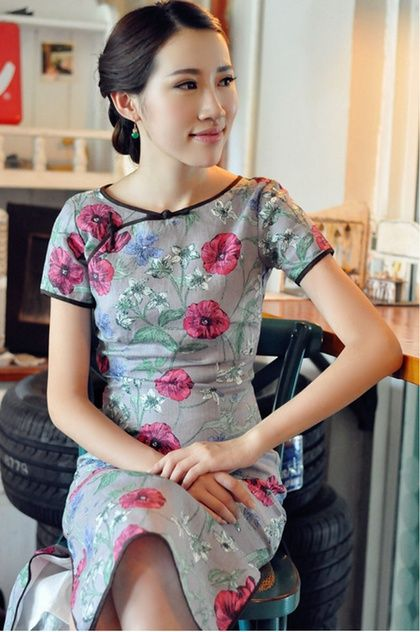 Grey Floral Midi-length Linen Qipao / Cheongsam / Chinese Dress