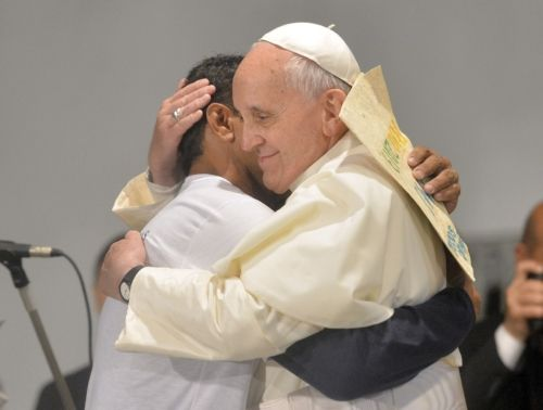 Pope Francis embraces a patient at St. Francis of Assisi Hospital in Rio de Janeiro  Pope Francis embraces a patient at St. Francis of Assisi Hospital in Rio de Janeiro July 24. The pope addressed a group of recovering drug addicts, offering them a message of compassion and hope as well as a call to self-determination. (CNS photo/Reuters)