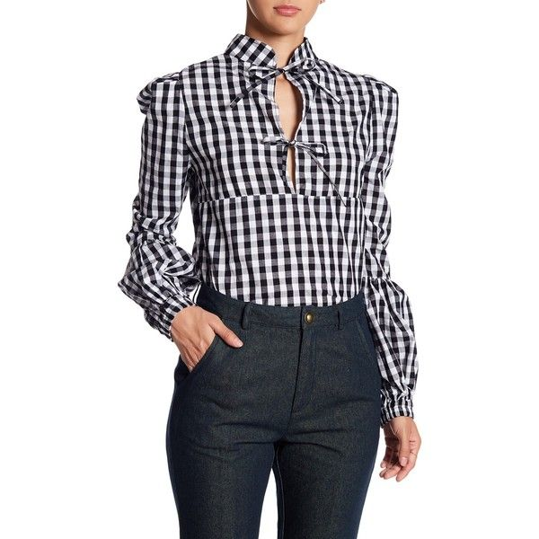 TOV Split Neck Tie-Front Gingham Blouse ($35) ❤ liked on Polyvore featuring tops, blouses, black, split neck top, tie front blouse, long sleeve tie front blouse, gingham top and tie front top