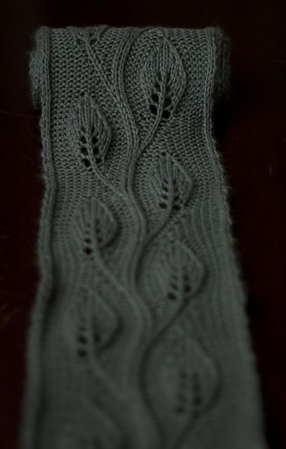 Defarge knittery's Daphne.  Darn if I won't knit some leaves. This pattern description quotes Ovid!