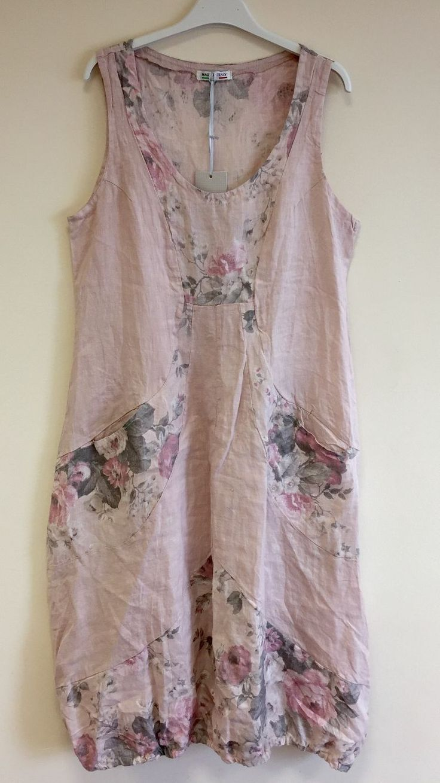 New Ladies Italian Lagenlook Quirky Boho FLORAL Balloon Pocket Linen Tunic Dress