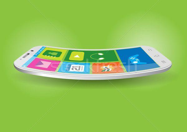 Modern Touchscreen Curved Mobile Vector Illustration stock photo (c) Akhilesh (#4101564) | Stockfresh