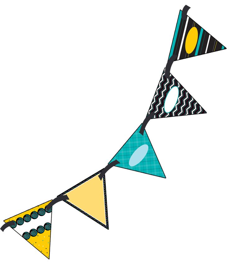 """Create innovative classroom displays with this double-sided Black, White, & Bold Bunting! Perfect for making bulletin boards stand out, or creating bold headlines while adding a personal touch to your classroom décor, open houses, welcome signs, special events, and more! Each pennant is double-sided and pre-punched for easy stringing. Includes (16) 7"""" x 7"""" pennants and one 10' ribbon, large enough to create an impressive display!"""