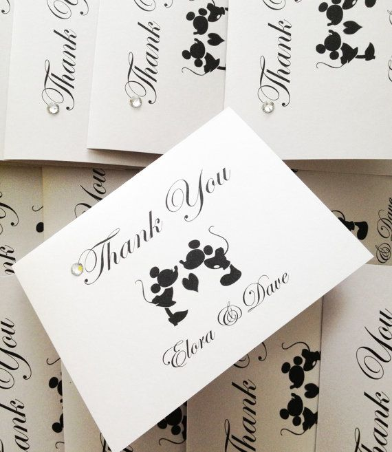 Mickey Mouse Thank You Cards, Disney Theme Weddings, Mickey Mouse And  Minnie Weddings, Set Of 10