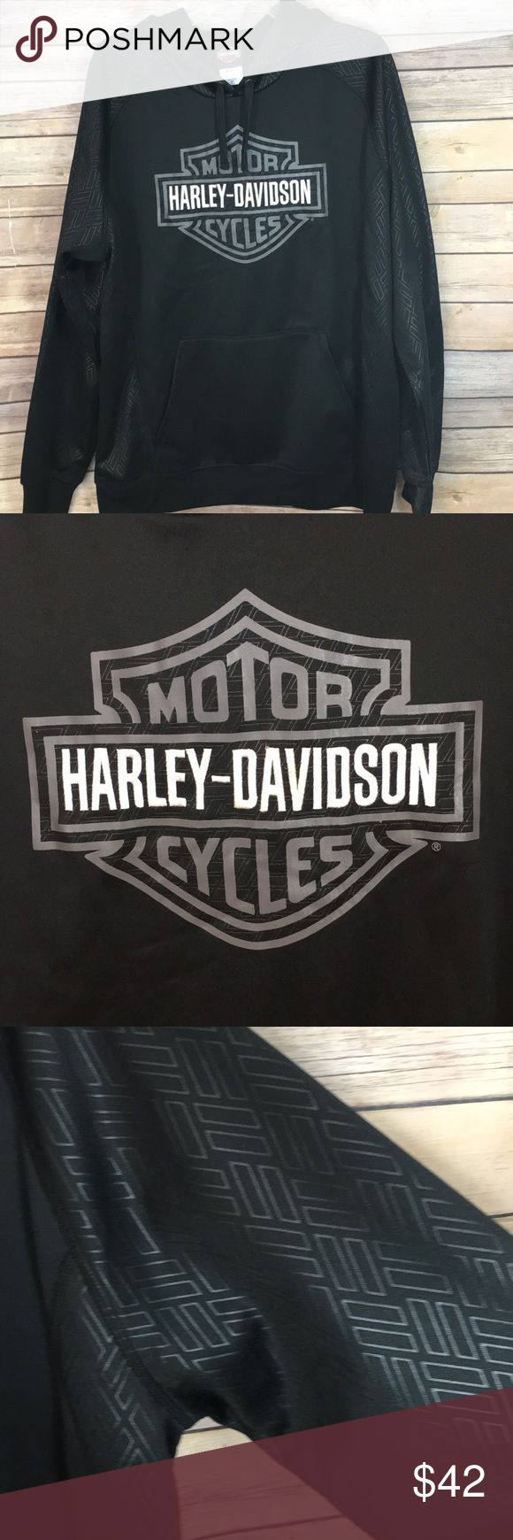 Harley Davidson black hoodie sweatshirt. Black hoodie sweatshirt from Harley Davidson. Tire print on hood and sleeves Harley-Davidson Shirts Sweatshirts & Hoodies