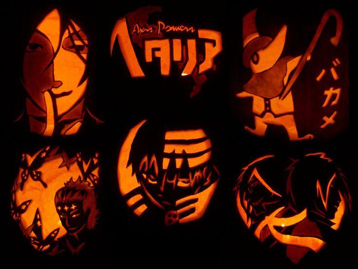 Anime pumpkin- Black Buttler, Hetalia, Excalibur from Soul Eater, Tyki Mikk, Death the Kid ...