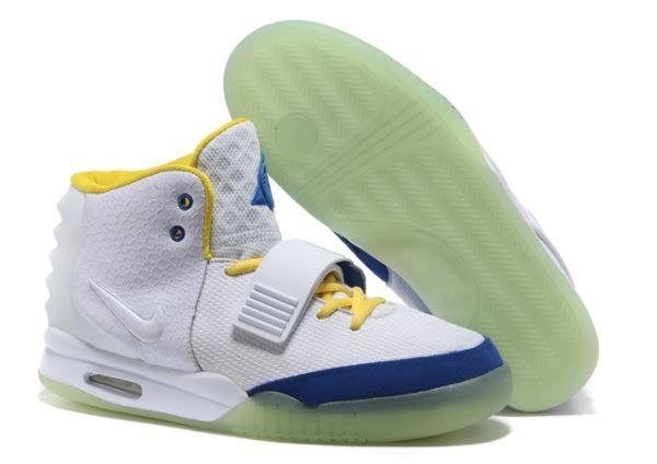Nike Air Yeezy 2 Sneaker White/Yellow/Blue Men\u0027s Shoes