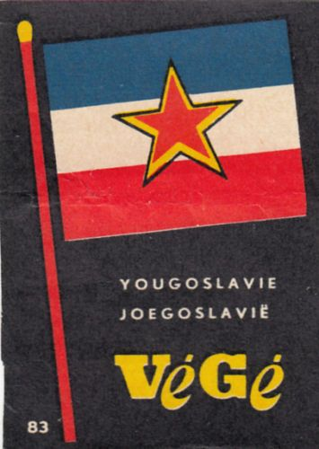 Yougoslavie-Yugoslavia-FLAG-DRAPEAU-MATCHBOX-LABEL-60s-70s-S