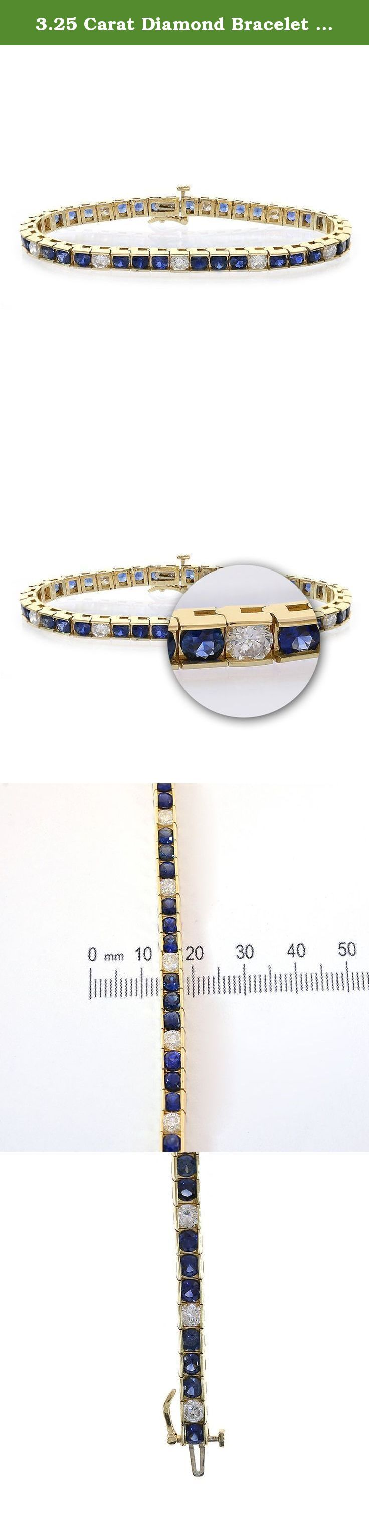 3.25 Carat Diamond Bracelet With 7.50 Carat Sapphire Channel Set 14k Yellow Gold. This beautiful eternity ceylon sapphire and diamond bracelet is crafted in 14k yellow gold, channel-set straight line bracelet, with vivid blue sapphire and sparkling natural round cut diamonds. The clean line and elegant glamour of this eternity diamond and sapphire bracelet makes it a timeless treasure for every woman's jewelry wardrobe. Diamond is the April birthstone. Sapphire is the September…