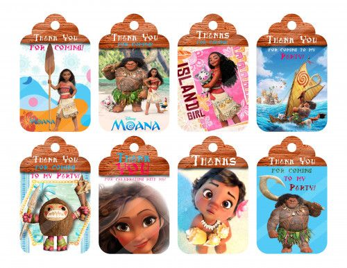 Moana Thank You Tags Printable Diy Favor Bag Tags