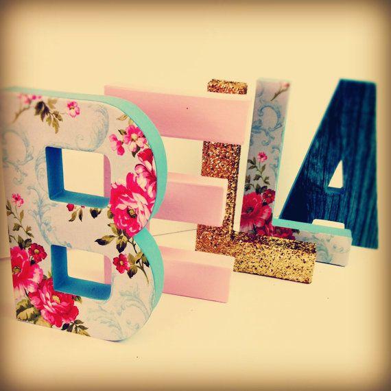 Shabby chic Baby Kinderzimmer Buchstaben floral Brief von Ajobebe