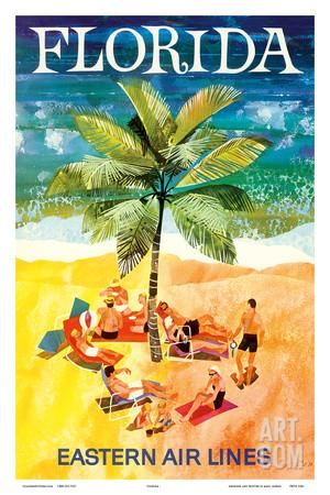 Florida - Eastern Air Lines - Sunbathers around Palm Tree Art Print by Jane Oliver at Art.com