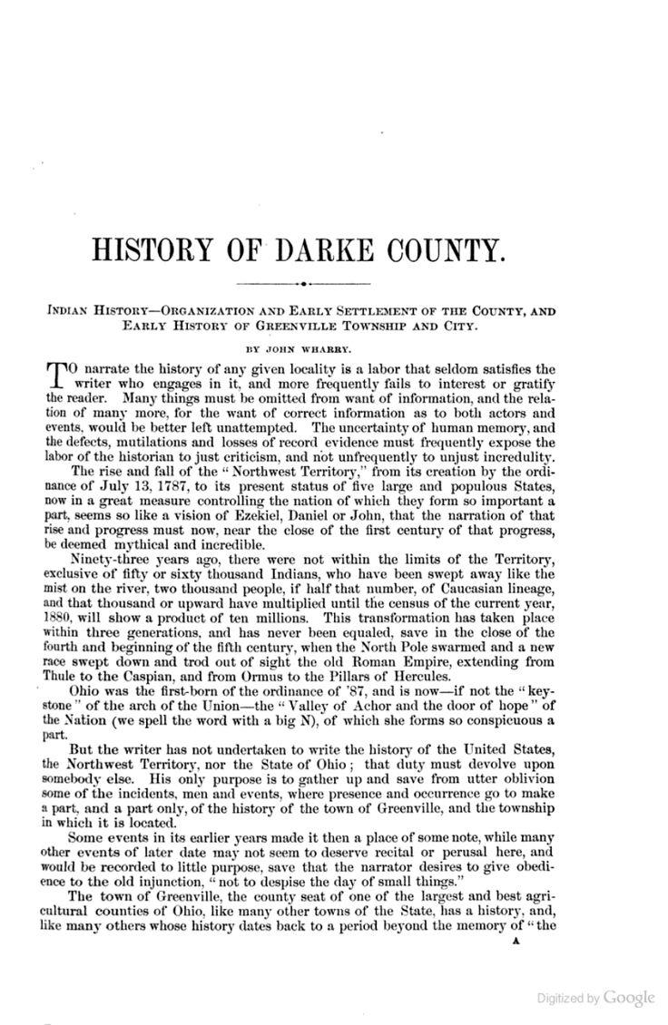 Ohio darke county north star - The History Of Darke County Ohio Containing A History Of The County Its