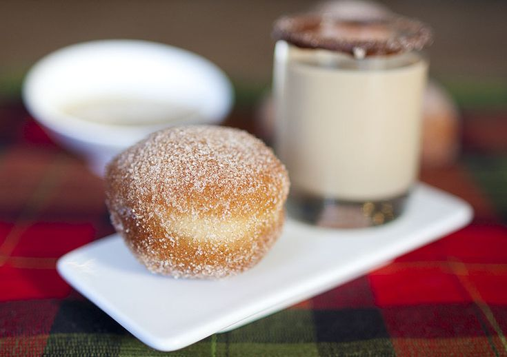 Delicate cinnamon-sugar doughnut holes served with a cold-brewed coffee and Kahlua shooter.