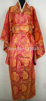 Goedkope rode originele Japanse vintage traditie yukata kimono jurk met obi one size, koop Kwaliteit Azië & Pacific Islands Kleding rechtstreeks van Leveranciers van China: