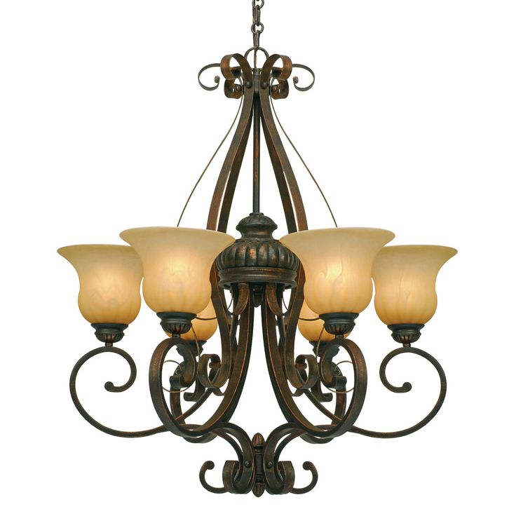 Features:  Six Light Chandelier.  Adds Rich Texture And Ambience To Any Room.   Casts A Warm Glow Within Any Foyer, Living, Dining Or Lobby Area.