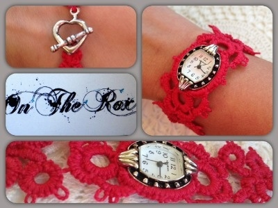 Silver watch with red handmade needle tatting strap