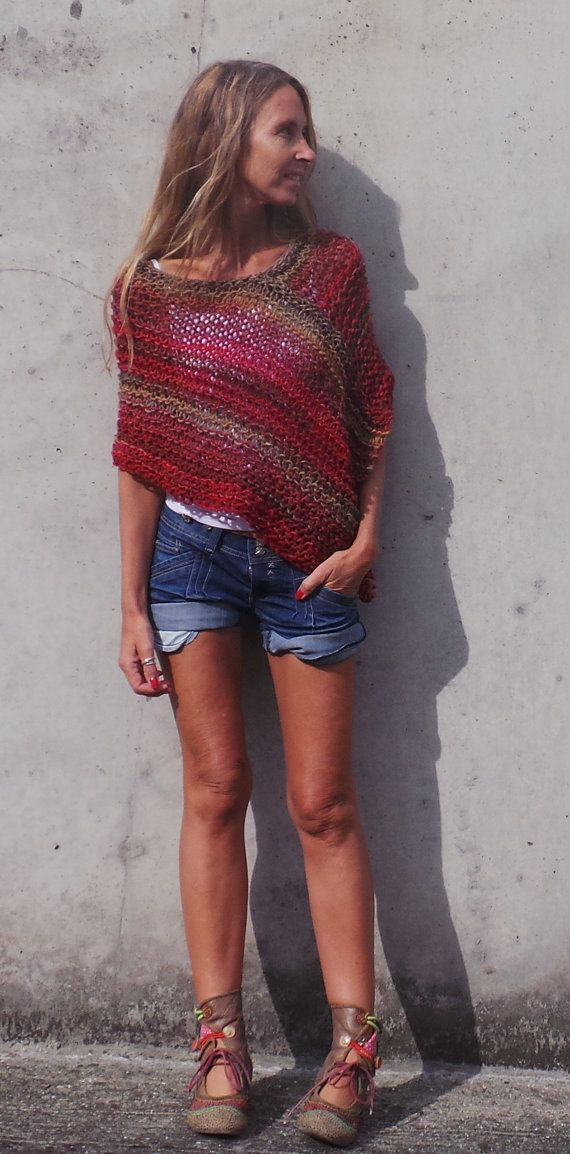 Poncho de poncho rojo Poncho tweed rojo mix por ileaiye en Etsy
