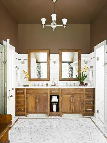 Bathroom paint ideas - Better Homes and Gardens - The dark brown shade certainly does what it probably was intended to do -- reduce the apparent height of the room!  http://www.bathroom-paint.net/bathroom-paint-color.php