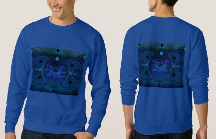 Royal Blue Sweatshirt with Digital Image 'Spaceship Interior'