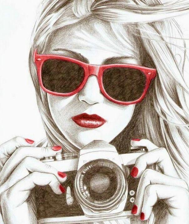 Dibujo De Una Chica Con Una Cámara Art Drawings Sketches