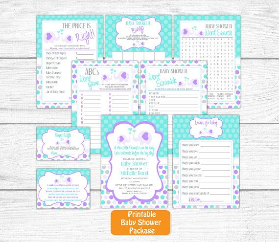 Neutral Printable Elephant Baby Shower Invitation Set Grey