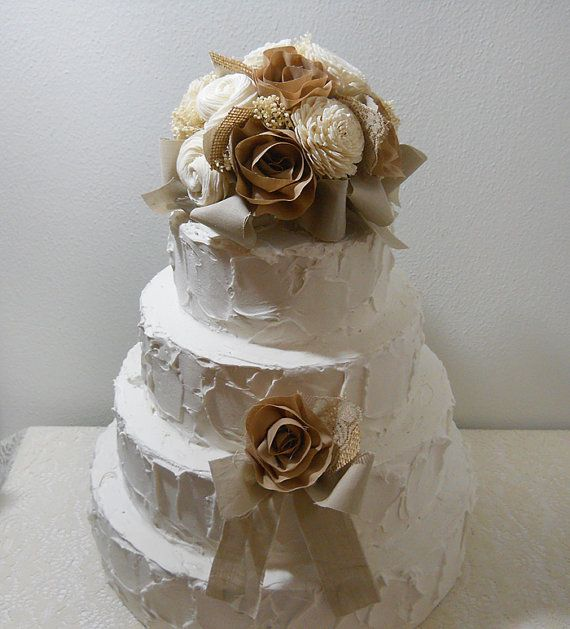 natural wedding cake toppers rustic shabby chic cake topper sola flowers cotton 17721