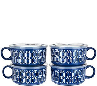 CooksEssentials Microwavable S/4 Ceramic Mugs with Vented Lids