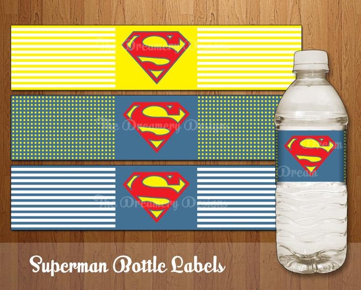 Superman Water Bottle Labels -