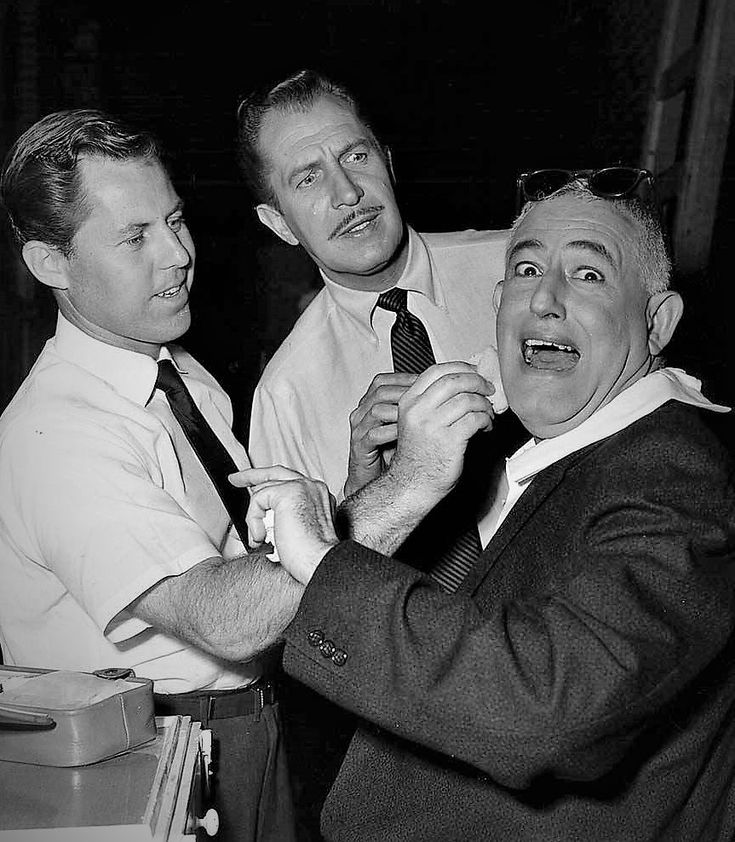 Makeup artist Monty Westmore with Vincent Price and