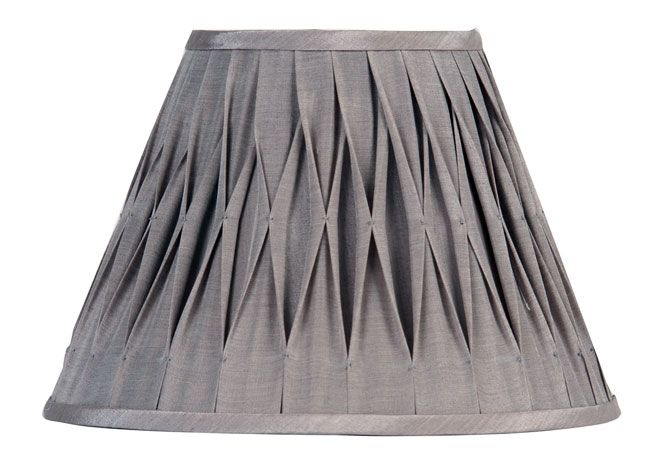 gray lamp shade pleated 10 inch silver grey faux silk. Black Bedroom Furniture Sets. Home Design Ideas