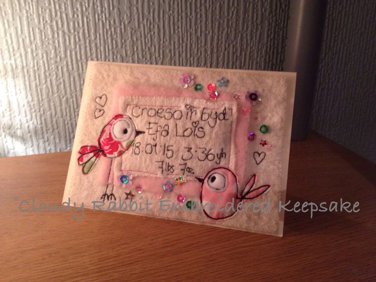 A Cloudy Rabbit Embroidered keepsake Birth card with Welsh text. #freehand #machineembroidered #appliquéd #baby #greetingscard #welsh  Order yours at www.fb.com/somethingalittlebitdiffeRnt Or email: somethingalittlebitdifferent@gmail.com