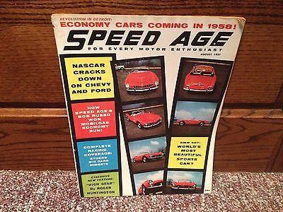 Speed Age Magazine August 1957 BMW 507 NASCAR Economy Cars Junkyards