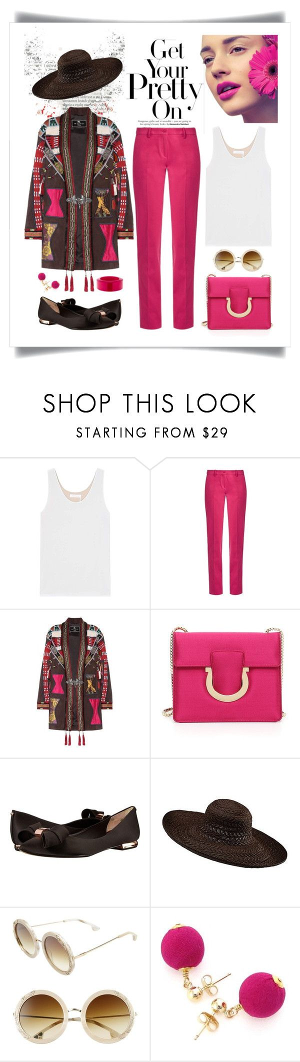 """""""Etro Embellished Leather Jacket Look"""" by romaboots-1 ❤ liked on Polyvore featuring Chloé, Etro, Salvatore Ferragamo, Ted Baker, Brooks, Alice + Olivia, Dorus Mhor and Lanvin"""